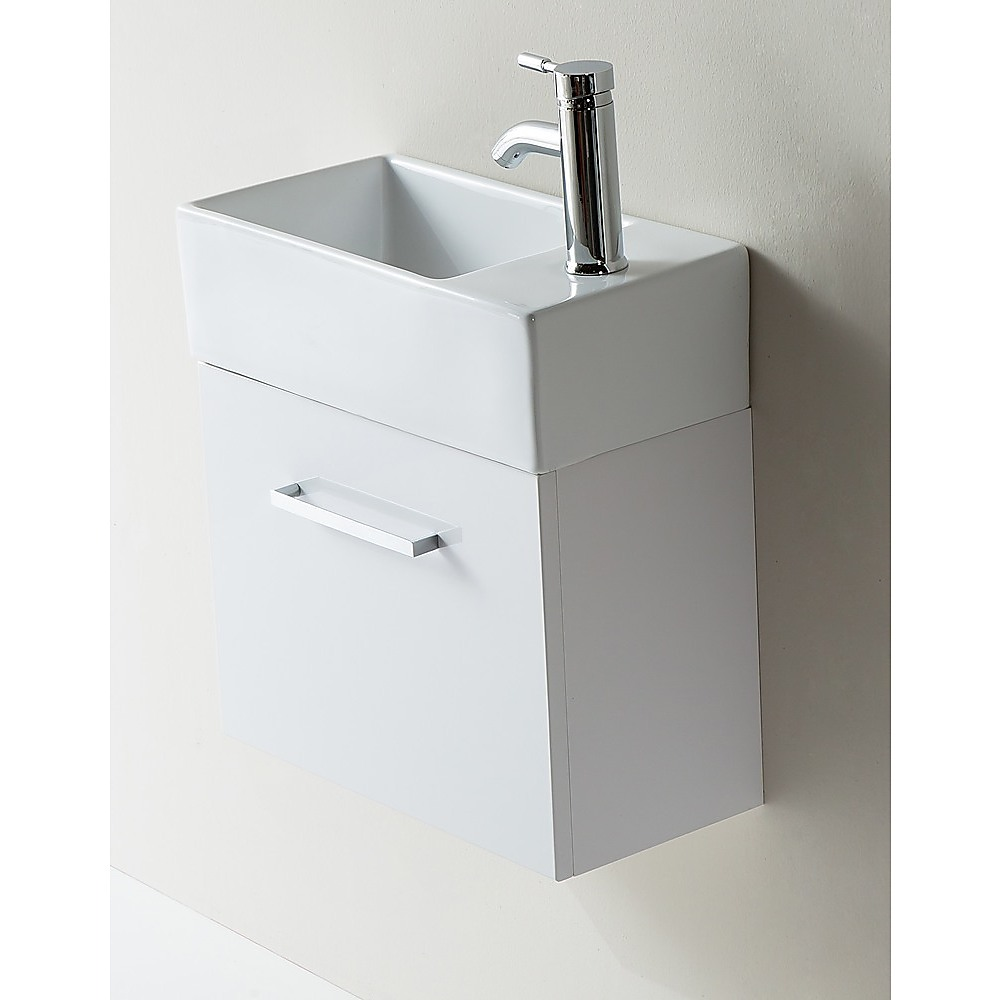 ... Vanity 480 Matte White Wall Hung Narrow Ceramic Basin Compact NEW