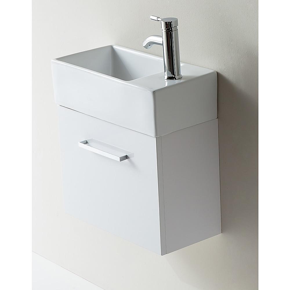 Narrow Bathroom Wall Storage: Bathroom Vanity 480 White Wall Hung Narrow Ceramic Basin