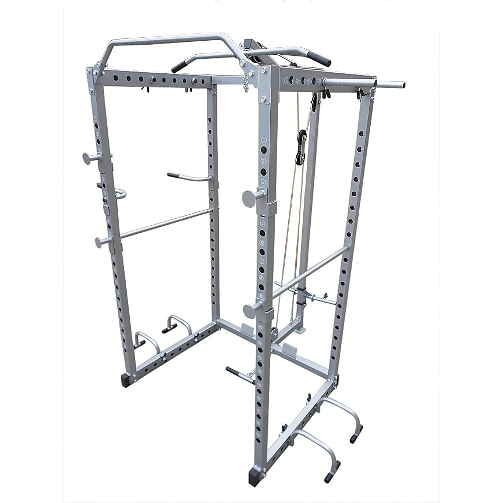 power rack squat cage stands w lat pulldown home gym ebay. Black Bedroom Furniture Sets. Home Design Ideas