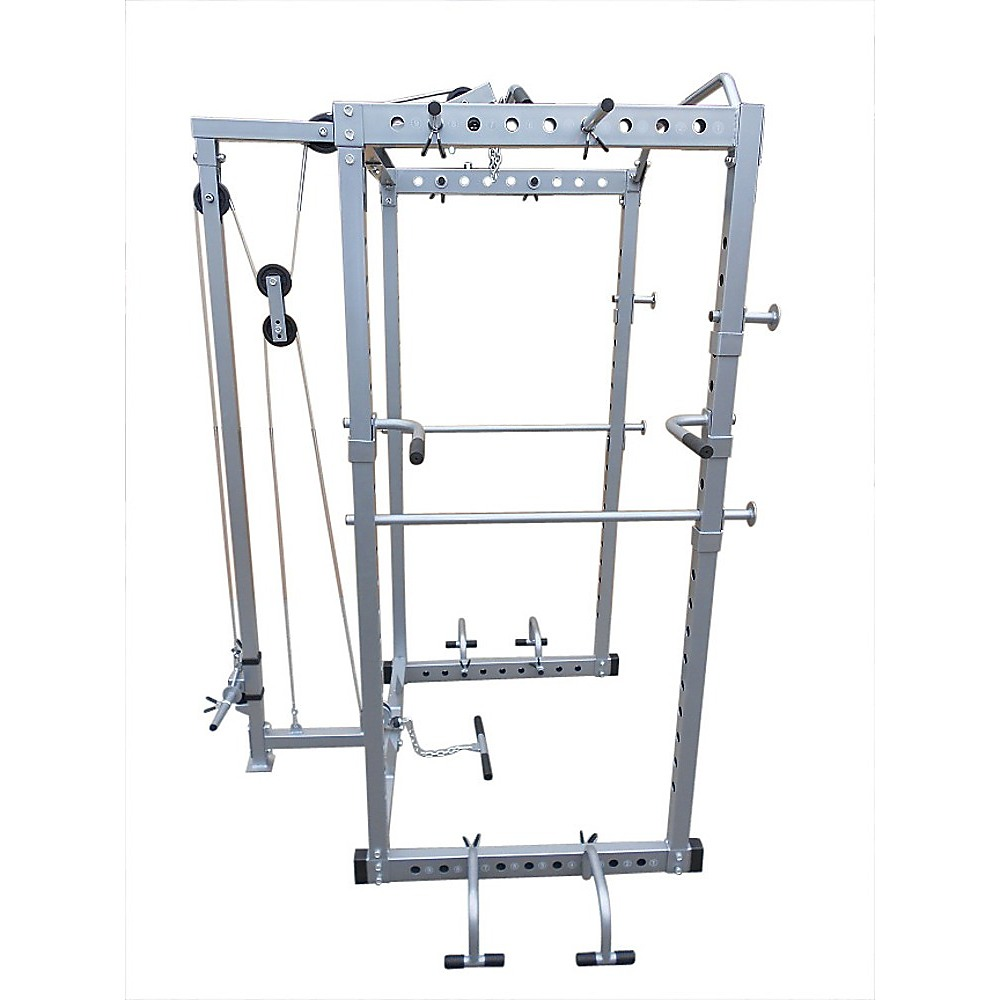 Power Rack Squat Cage Stands W Lat Pulldown Home Gym Ebay