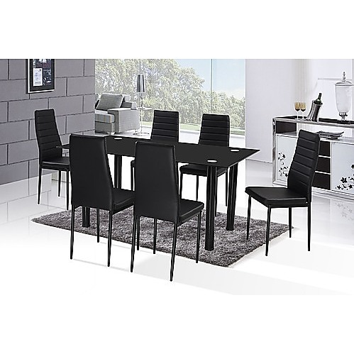 Six seater 10mm tempered black glass dining table for 10 seater glass dining table and chairs